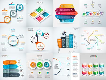 Plantilla de diseño de infografía. Concepto de negocio con 3, 4, 5, 6, 7 y 8 opciones, partes, etapas o procesos. Puede ser utilizado para el diseño de flujo de trabajo, diagrama, opciones de números. Visualización de datos. Ilustración de vector