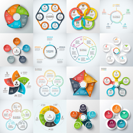 Big set of pentagons, circles and other elements for infographic. Template for cycle diagram, graph. Business concept with 5 options, parts, steps.