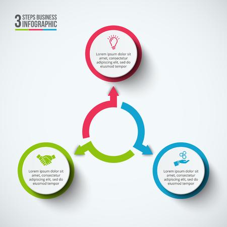 インフォ グラフィックのデザイン テンプレートです。3 のオプション、部品、ステップやプロセスのビジネス コンセプトです。ワークフローのレイ