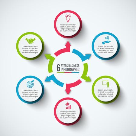 インフォ グラフィックのデザイン テンプレートです。6 のオプション、部品、ステップやプロセスのビジネス コンセプトです。ワークフローのレイ