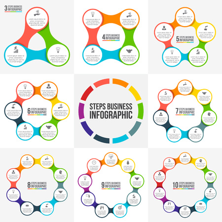 Vector circle infographic. Template for cycle diagram, graph, presentation and round chart. Business concept with 3, 4, 5, 6, 7, 8, 9 and 10 options, parts, steps or processes. Data visualization. Vettoriali