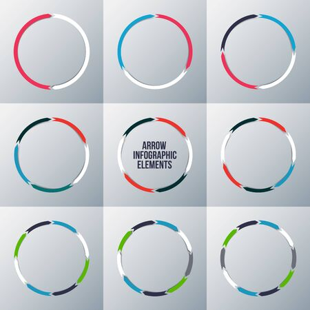 arrows circle: Vector arrows for infographic. Template for cycle diagram, graph, presentation and round chart. Business concept with 2, 3, 4, 5, 6, 7, 8, 9 and 10 options, parts, steps or processes