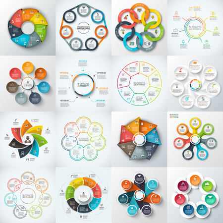 heptagon: Big set of vector heptagons, circles and other elements for infographic. Template for cycle diagram, graph. Business concept with 7 options, parts, steps.