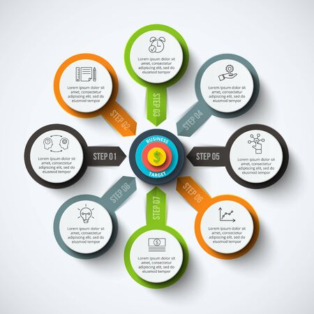 strategies: Vector circle infographic with target. Template for cycle diagram, graph, presentation and round chart. Business concept with 8 options, parts, steps or processes. Data visualization.
