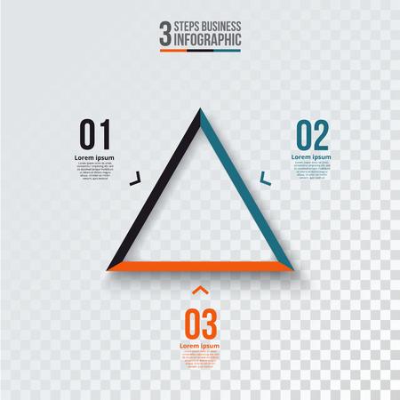 visualize: Vector triangle infographic. Template for cycle diagram, graph, presentation and chart. Business concept with 3 options, parts, steps or processes. Transparent background.