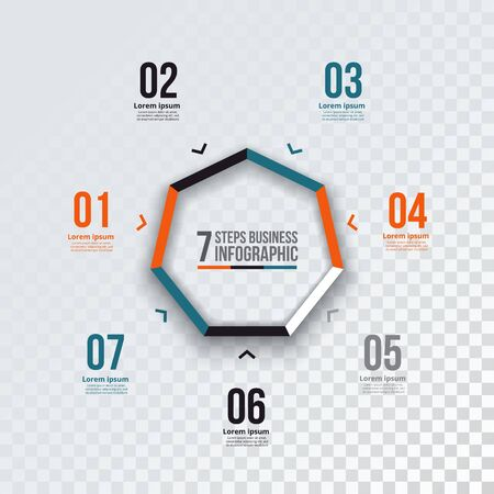 heptagon: Vector heptagon infographic. Template for cycle diagram, graph, presentation and chart. Business concept with 7 options, parts, steps or processes.  Transparent background.