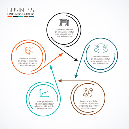 data line: Thin line flat element for infographic. Template for diagram, graph, presentation and chart. Business concept with 5 options, parts, steps or processes. Data visualization.