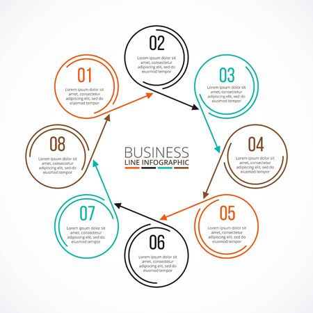data line: Thin line flat element for infographic. Template for diagram, graph, presentation and chart. Business concept with 8 options, parts, steps or processes. Data visualization. Illustration