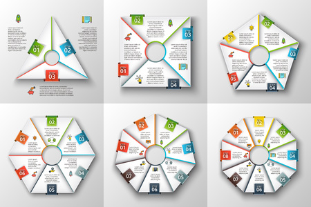 6 7: Set of geometric shapes for infographic. Template for cycle diagram, graph, presentation and chart. Business concept with 3, 4, 5, 6, 7 and 8 options, steps or processes Illustration