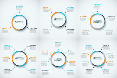 options: Vector circle infographic. Template for cycle diagram, graph, presentation and round chart. Business concept with 3, 4, 5, 6, 7 and 8 options, steps or processes Data visualization
