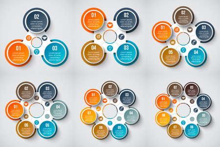 4 5: Vector geometric elements for infographic. Template for cycle diagram, graph, presentation and chart. Business concept with 3, 4, 5, 6, 7 and 8 options, steps or processes Abstract background