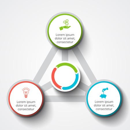 Vector Infografik Design-Vorlage. Business-Konzept mit drei Optionen, Teile, Schritte oder Prozesse. Kann für die Workflow-Layout, Diagramm, Anzahl Optionen, Web-Design verwendet werden. Datenvisualisierung. Standard-Bild - 60909351