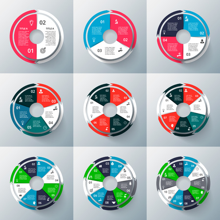 7 8: circle infographics set. Template for cycle diagram, graph, presentation and round chart. Business concept with 2, 3, 4, 5, 6, 7, 8, 9 and 10 options, steps or processes. Data visualization.