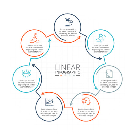 heptagon: Thin line flat elements for infographic. Template for diagram, graph, presentation and chart. Illustration