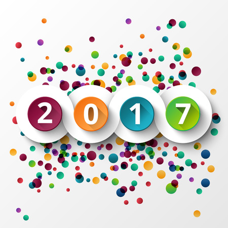 Happy new Year 2017 celebration with colorful confetti template background.