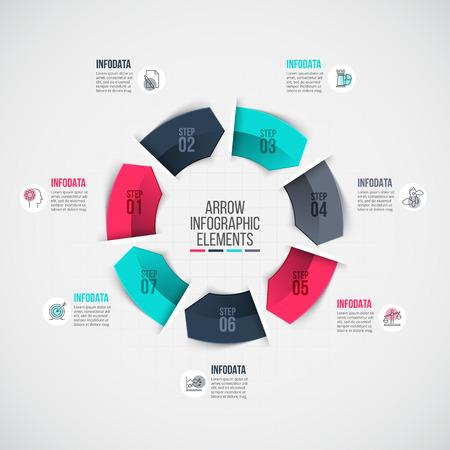 grafica de barras: Plantilla para el diagrama del ciclo, gráfico, la presentación y el gráfico. Concepto de negocio con 7 opciones, partes, etapas o procesos.