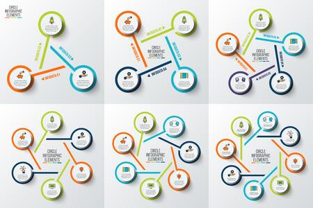 Concept créatif pour infographie. Tableau de processus. Éléments abstraits du graphique, diagramme avec 3, 4, 5, 6, 7 et 8 étapes, options, pièces ou processus. Vector business template for presentation. Vecteurs