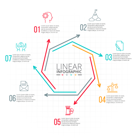 data line: Thin line flat heptagon for infographic. Template for diagram, graph, presentation and chart. Business concept with 7 options, parts, steps or processes. Data visualization.