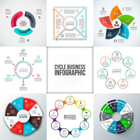 7 8: Big set of vector arrows, circles and thin line flat elements for infographic. Business concept with 3, 4, 5, 6, 7, 8, 9 and 10 options, parts, steps or processes.