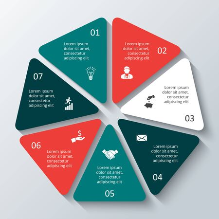 heptagon: Vector heptagon infographic. Template for cycle diagram, graph, presentation and round chart. Business concept with options, parts, steps or processes. Data visualization.