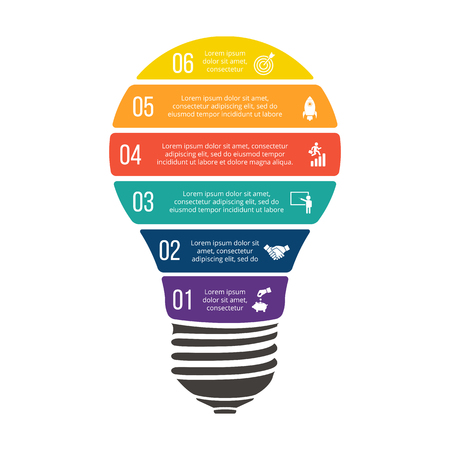 Vector illustration of business infographic with light bulb. Can be used for workflow layout, diagram, 6 options, step up options, web design, infographics