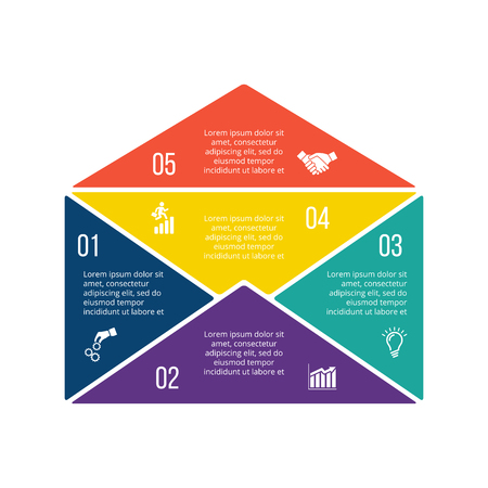 step up: Vector illustration of business infographic with envelope. Can be used for workflow layout, diagram, 5 options, step up options, web design, infographics