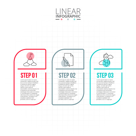 data line: Thin line flat elements for infographic. Template for diagram, graph, presentation and chart. Business concept with 3 options, parts, steps or processes. Data visualization.