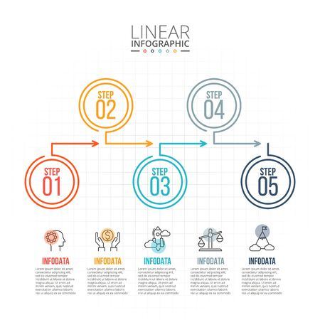 data line: Thin line flat elements for infographic. Template for diagram, graph, presentation and chart. Business concept with 5 options, parts, steps or processes. Data visualization. Illustration
