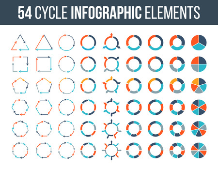 heptagon: Big set of cycle elements for infographic. Template for diagram, graph, presentation and chart. Business concept with 3, 4, 5, 6, 7 and 8 options, parts, steps or processes. Data visualization. Illustration