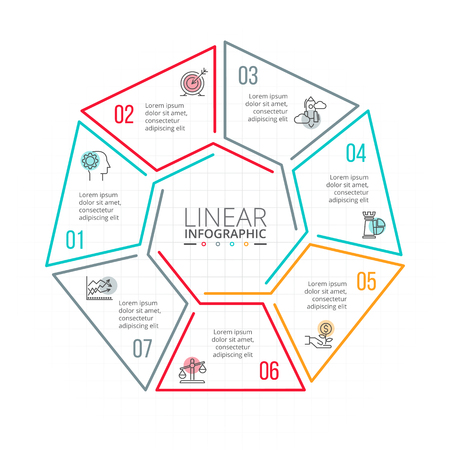 heptagon: Thin line flat element for infographic. Template for diagram, graph, presentation and chart. Business concept with 7 options, parts, steps or processes. Data visualization.