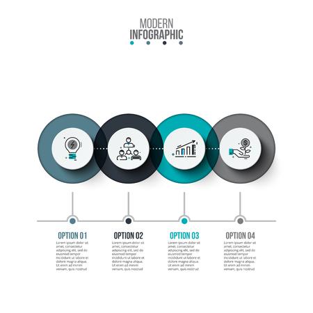 ビジネス データの可視化。プロセス グラフ。グラフ、図 4 の手順、オプション、部品またはプロセスの抽象要素です。プレゼンテーションのベクト