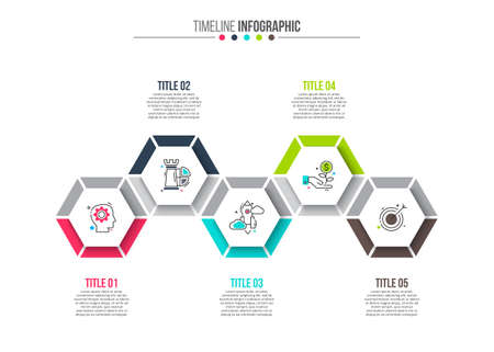 graphs and charts: Vector hexagons elements for infographic. Template for diagram, graph, presentation and chart. Business concept with 5 options, parts, steps or processes. Stroke icons.