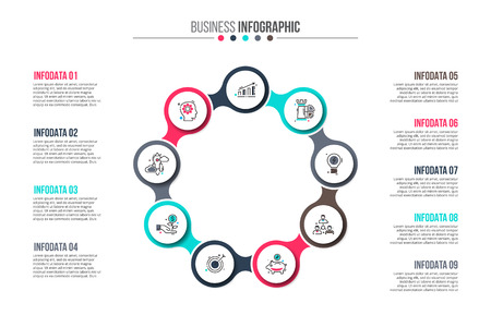 Business data visualization. Abstract flat elements of cycle diagram with 9 steps, options, parts or processes. Vector business template for presentation. Creative concept for infographic.