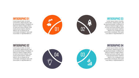 infochart: Business data visualization. Abstract flat elements of cycle diagram with 4 steps, options or parts. Vector business template for presentation. Creative concept for infographic. Process chart.