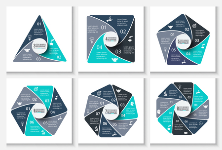 Vector infographic design template. Business concept with 3, 4, 5, 6, 7 and 8 options, parts, steps or processes. Can be used for workflow layout, diagrams, number options and web design Vettoriali