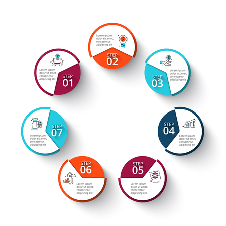 heptagon: Vector circle elements for infographic. Template for cycle diagram, graph, presentation and round chart. Business concept with 7 options, parts, steps or processes. Line icons.