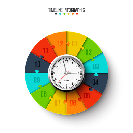 A vector clock with circle puzzle for infographic.
