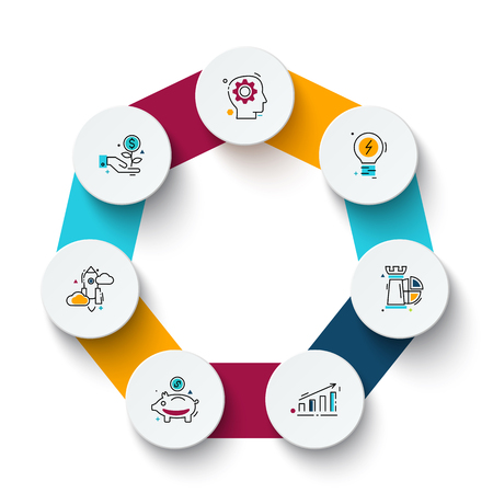 heptagon: Vector heptagon with circles for infographic. Template for cycle diagram, graph, presentation and round chart. Business concept with 7 options, parts, steps or processes. Data visualization.