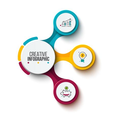 Visualisierung von Geschäftsdaten Prozessdiagramm. Abstrakte Elemente des Diagramms, Diagramm mit 3 Schritten, Wahlen, Teilen oder Prozessen. Vektorgeschäftsschablone für Darstellung. Kreatives Konzept für Infografik.