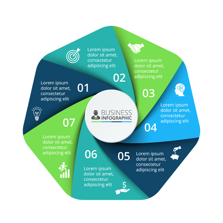 heptagon: Vector heptagon element for infographic. Template for cycle diagram, graph, presentation and chart. Business concept with 7 options, parts, steps or processes. Abstract background. Illustration