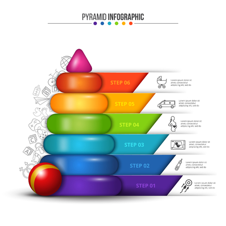 Vector children pyramid for infographic. Planning for pregnancy. Creative concept with 6 options, parts, steps or processes. Vectores