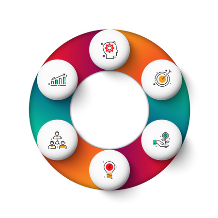 Vector gradeinte circle elements for infographic. Template for cycle diagram, graph, presentation and round chart. Business concept with 6 options, parts, steps or processes. Abstract background.