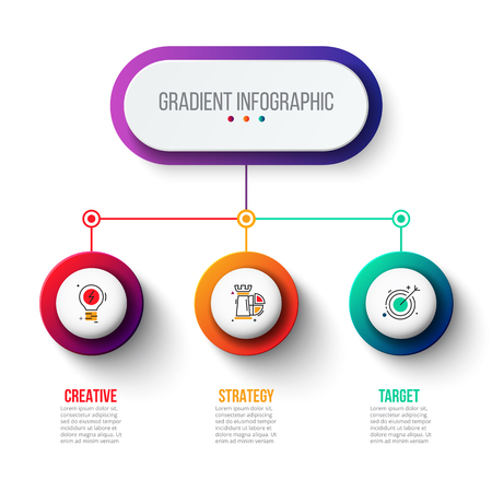 Abstract gradient infographics number options template. Vector illustration. Can be used for workflow layout, diagram, business step options, banner, web design. Çizim