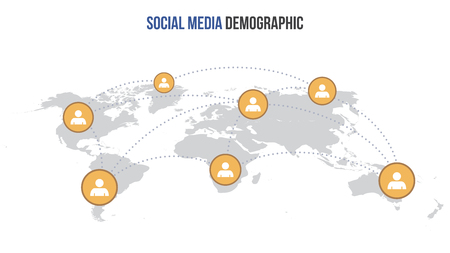 Vector social media infographic map. Global network connection. Illustration