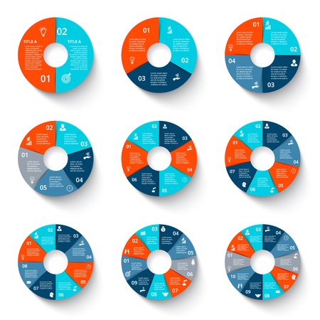 Vector circles infographics set. Business diagrams with 3, 4, 5, 6, 7, 8, 9 and 10 options, steps or parts.