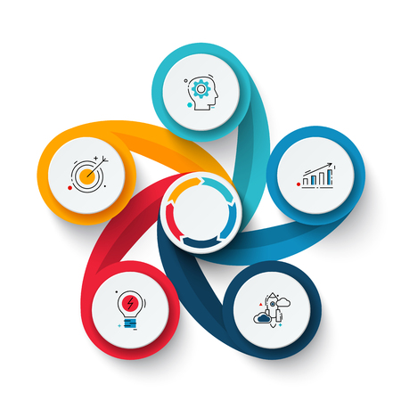 Vector swirl elements for infographic. Template for cycle diagram, graph, presentation and chart. Business concept with 5 options, parts, steps or processes. Abstract background.