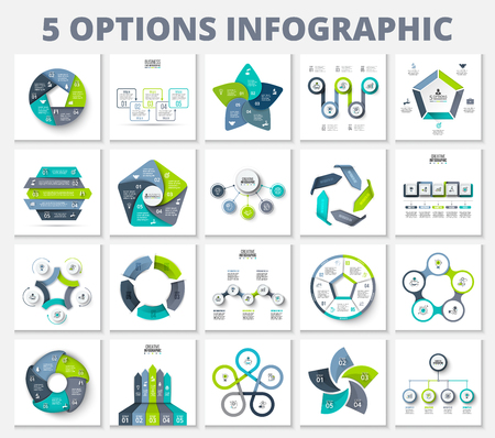 Vector bundle infographics elements. Business template presentations. Circles, pentagons, arrows and other abstract elements with 5 steps, options, parts or processes.