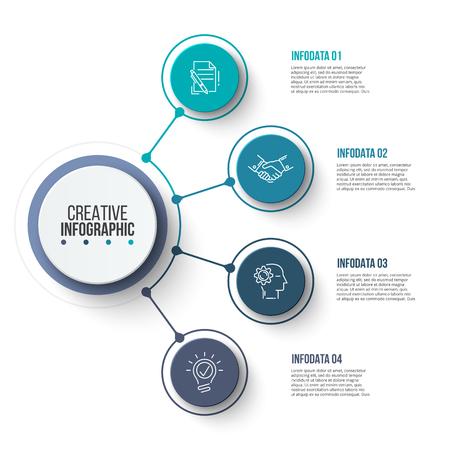 Éléments graphiques commerciaux de cercle. Infographie de processus métier avec 4 étapes, pièces ou options. Modèle de présentation abstraite. Conception de mise en page infochart de vecteur moderne.