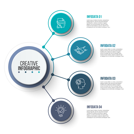 Circle business graphic elements. Business process infographics with 4 steps, parts or options. Abstract presentation template. Modern vector infochart layout design.