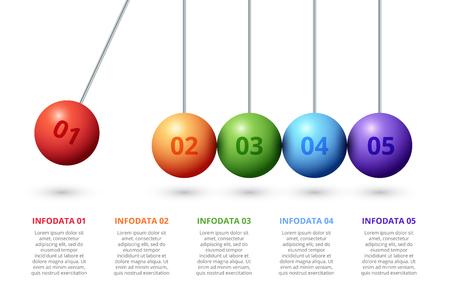 Infographie de pendule de vecteur avec 5 sphères. Modèle de présentation abstraite. Conception de mise en page d'infochart vectoriel moderne. Vecteurs